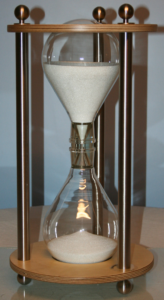 sanduhr production - big hourglass out of wood and steal made in germany